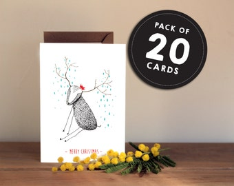 Cute Christmas Card pack of 20 - Hand drawn Reindeer red hat - Textured fun cute xmas greetings card