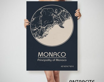 MONACO CANVAS Map Monaco Poster City Map Monaco Art Print Monaco