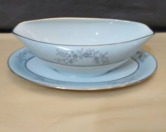 Vintage Noritake China Blueridge Pattern Gravy Boat with an Attached Underplate