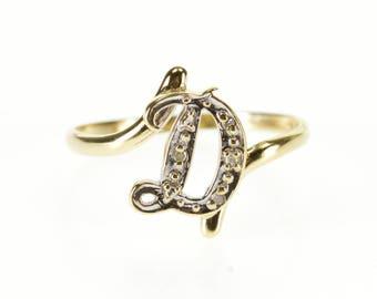 14k Diamond D Letter Initial Monogram Freeform Ring Gold