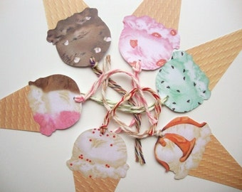 Ice Cream Cone Gift Tags Kids Birthday Party Favor Tag Summertime