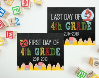 First Day Of School Chalkboard Sign - My First Day Back To School - School Picture Photo Prop -  Last Day of 4th Grade - PRINTABLE 8x10