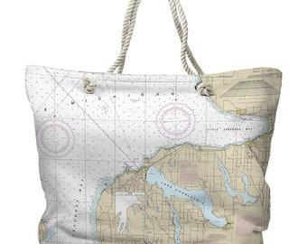 MI: Charlevoix, MI Nautical Chart Tote Bag, Travel Themed Tote Bag, Map Tote Bag, Nautical Tote Bag, Beach Bag