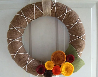 Yarn Wreath Ginger Spice Fall Colors 12 inch