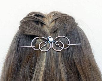Cheveux cuivre rustique clip ou diapositive - bijoux en spirale pour les cheveux - châle ou un chandail pin - Womens cadeau pour elle - barrette de cheveux avec des pierres précieuses