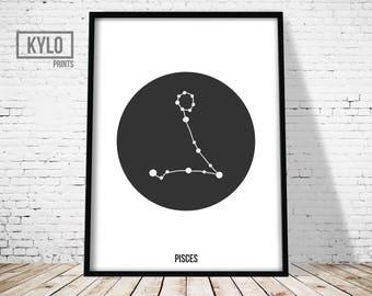 Pisces Zodiac Print, Constellation Print, Astrology Print, Scandinavian Art, Geometric Poster, Nursery Decor, Pisces Poster, Zodiac Wall art