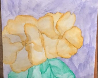 Yellow flowers-watercolor pencil on watercolor paper