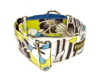"""Dog Collar - Flowers - Abstract Hawthron Hellebore Flower - Martingale, Buckle - 1"""" - 2""""  inch width"""