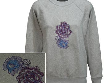 Women's grey marl sweatshirt with embroidered flower design.   Individually made in England.  W10 + 23J/05
