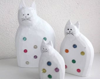 SET of 3 white cats with inlays of colored stones