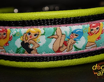 Dog Collar Pin up girls by dogs-art, leather dog collar, dog collar, beach dog collar, cute dog collar, boy dog collar, girl dog collar