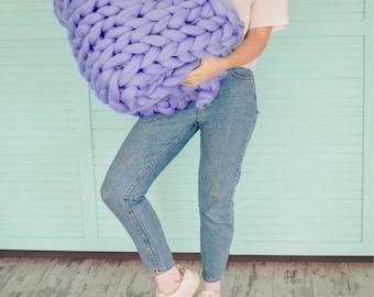 Violet Chunky Blanket - Throw Blanket - Giant Blanket - Merino Blanket - Bulky Blanket - Chunky Blanket - Hand Knit Blanket