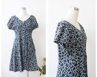 1950s Swing Dress Shirt Waist Dress Black Dress L Rockabilly Button Front Cap Sleeve Dress Large Abstract Print Button Up Dress Large