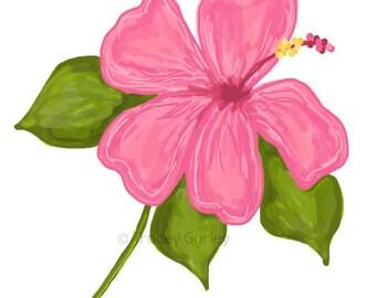 Pink Hibiscus Original Art - Digital Download - Pink Hibiscus Illustration. Hibiscus clip art