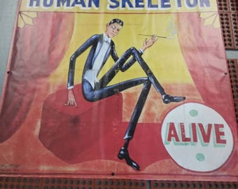 "Vintage Style  Freakshow Sideshow Freak Show Carnival Circus vinyl Banner  5 feet wide!   ""Human Skeleton"""