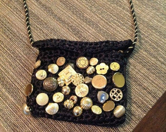 Button Vintage Handbag With Over 30 Vintage Buttons Lovely!