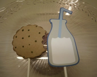 Milk and Cookies Cupcake Toppers