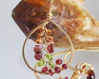 Gemstone Vine Teardrop Pendant, 14k Gold Filled Necklace with Sapphires, Garnet, Spinel, and Vesuvianite, Red Orange and Green, Artisan
