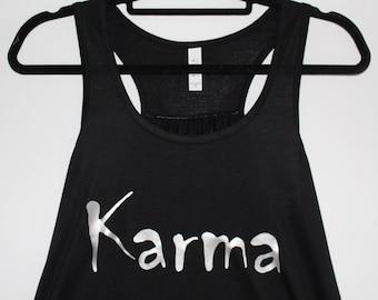 Women's Karma Tank  |  Racerback Tank  | Bella Brand  |  Flowy Tank  |  Silver Metallic