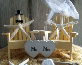 Adirondack Chair, Beach Wedding Cake Topper, Beach Wedding, Destination Wedding, Wedding Cake Topper, Beach Theme, Coastal Wedding, Starfish