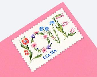 25 Floral Love Stamps - 20c - Vintage 1982 - Unused Postage - Quantity of 25