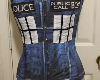 Victorian Overbust Tardis Police Box Doctor Who Corset Steel Boned Custom Sized