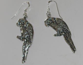 Sterling Silver MACAW PARROT Earrings -