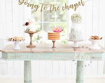 Going to the chapel of love. Mr and Mrs. Bachelorette party. bridal shower, gold foil, gold glitter party decorations, cursive banner,