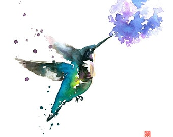 Hummingbird and Lilac Watercolor Painting Fine Art Giclee Print / Bird Painting / Flower Watercolor Painting / Wildlife Paintings
