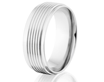 Cobalt Ring Wedding Band USA made Cobalt Mens Ring & Wedding Ring: CB-8RC4CG-P