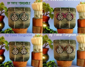 Earrings hoops, beads, polaris, leaves and silver pentacle - 4 colors to choose from-