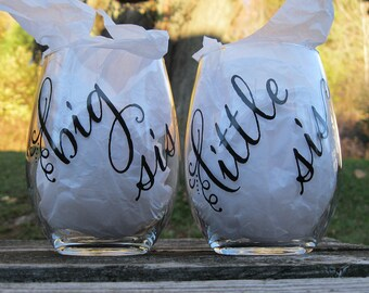 Big/Little sis Stemless Wine Glass Set for sisters