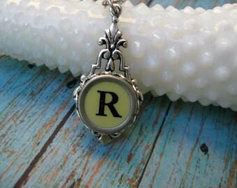 Typewriter Key Jewelry, Typewriter Key Necklace,  Letter R