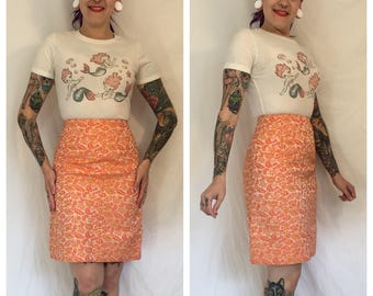 Vintage 1960's Orange Tapestry Skirt