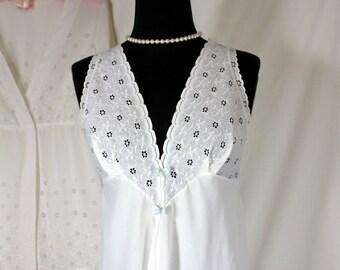 Vintage Nightgown Peignoir Set White Eyelet Alice Maloof Small