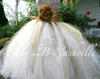 Vintage Cocoa Lace Flower Girl Dress, Rustic Wedding Flower Girl  Dress, Cocoa Satin with Gold Flower Sash Tutu Dress  All Sizes Girls