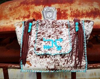 cowhide fancy fringe livestock brand bag