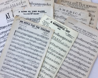 Vintage Music Sheets lot of 20 sheets pages Paper Ephemera