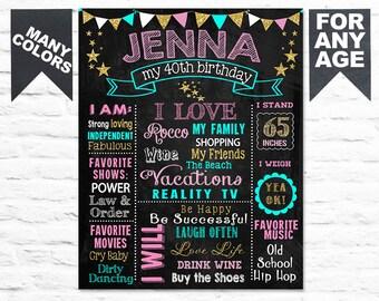 Printable ADULT 30th Birthday chalkboard sign 20th 40th 50th birthday board milestone cake smash fun gift for her (292)