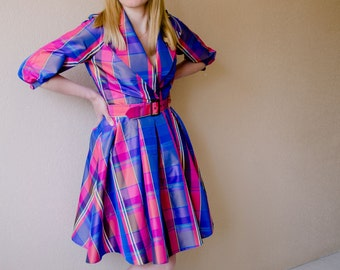 Cute checkered dress, Exclusive bright dress, Design work, Cute colorful checkered dress-coat