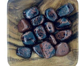 Mahogany Obsidian Tumbled Stone - Root Chakra - Balance - Energy Healing - Reiki