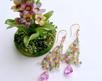Pink Topaz Tassel Earrings Emerald Blue Topaz Yellow Zircon - Delphine Tassel Earrings