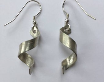 Silver twist drop earrings, sterling silver dangle earrings, handmade, textured silver earrings