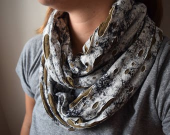 Moss Birch Bark Infinity Scarf - two layered olive green accent black and white cowl scarf