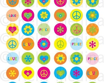 Peace and Flowers - Clip Art 1 inch Circle Digital Collage Sheet - Commercial use for Cupcake Toppers, Magnets, Paper Crafts and Products