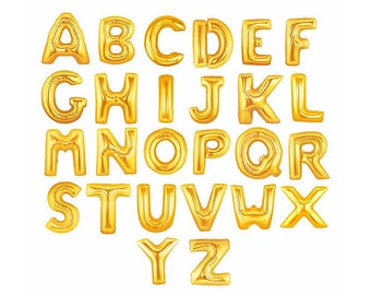 """Giant 40"""" Inch SILVER/GOLD Letter Balloons - You Choose the Letters/ Numbers You Want- Balloon Letters - Birthday Party Baby Shower Balloons"""