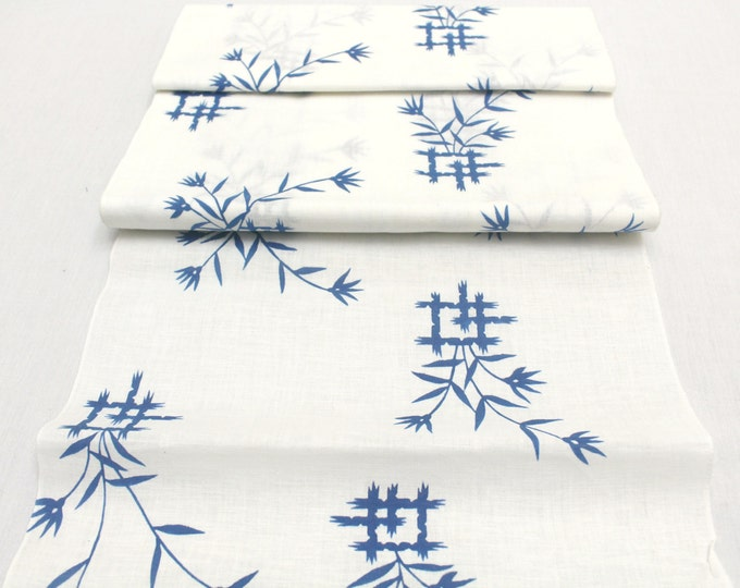 Japanese Artisan Cotton. Vintage Yukata Bolt. Blue White Hand Dyed Design (Ref: 1591)