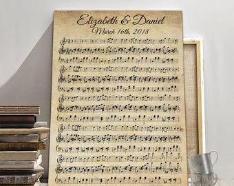 Music sheet canvas, wedding song sheet canvas, music sheet art, wall art music sheet, Music Wall Art, Custom Music Notes, Music Sheets Art