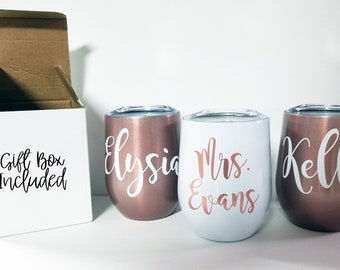 Bachelorette Tumblers, Bridesmaid Gift, Bachelorette Party Favors, Rose Gold, Bride and Bridesmaid Cups, Stemless Wine Tumblers