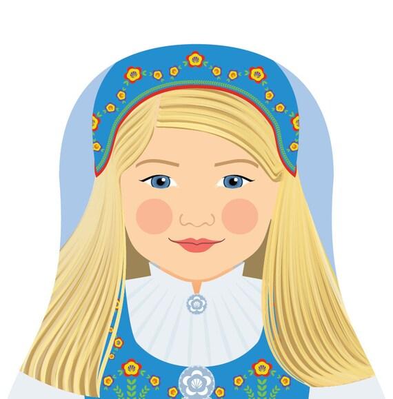 Norwegian Doll Art Print with traditional folk dress, matryoshka